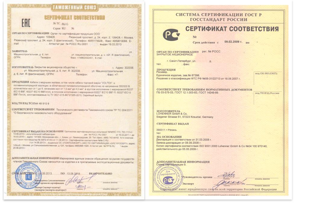 сертификат соответствия тр тс гост р